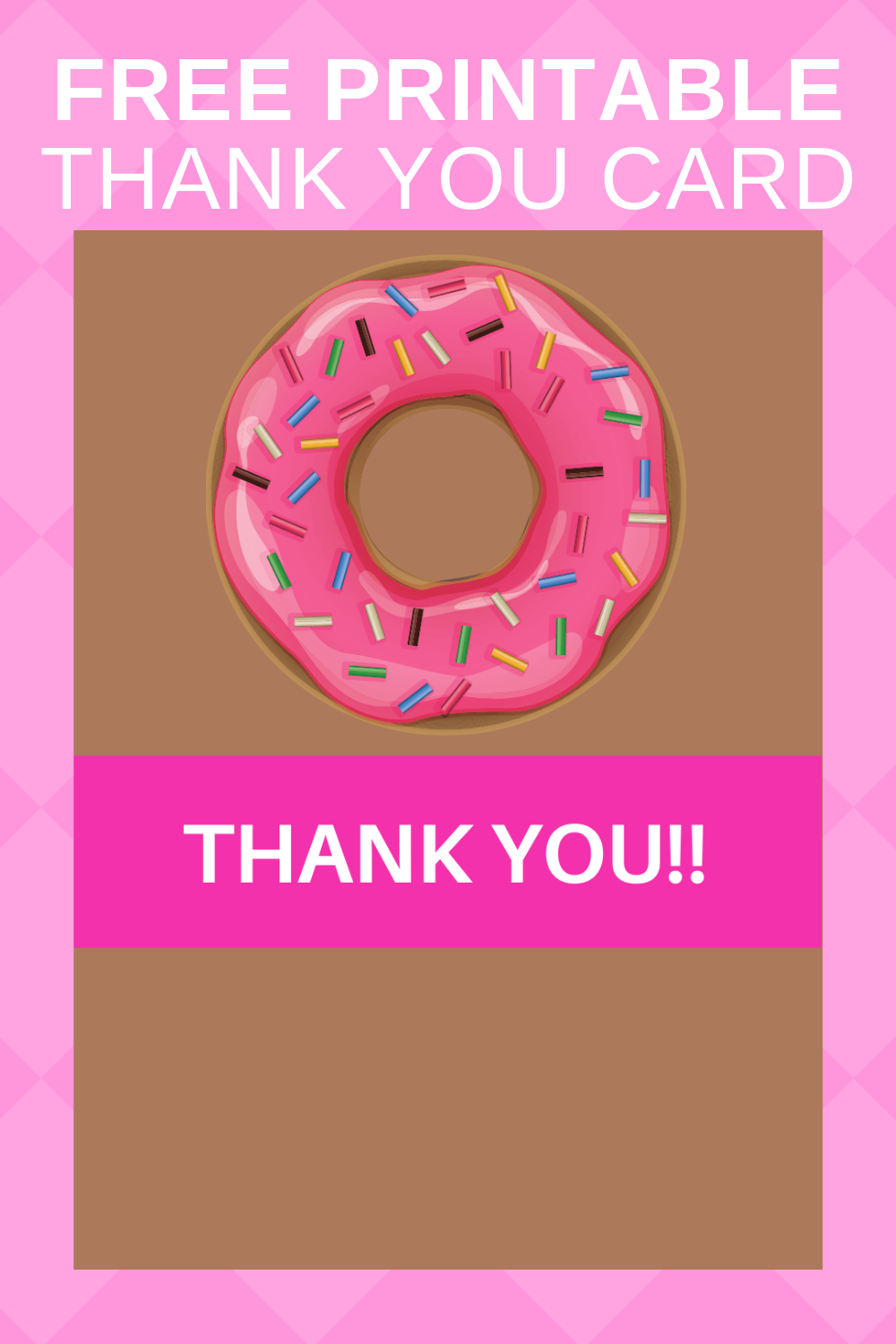 free printable donut themed printables: thank you note