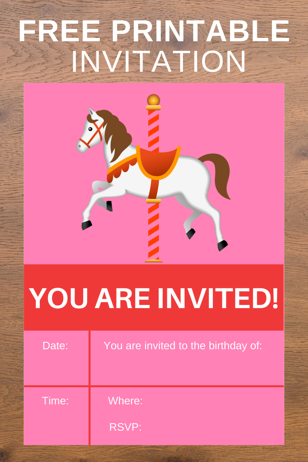 free download: carousel birthday party invitations