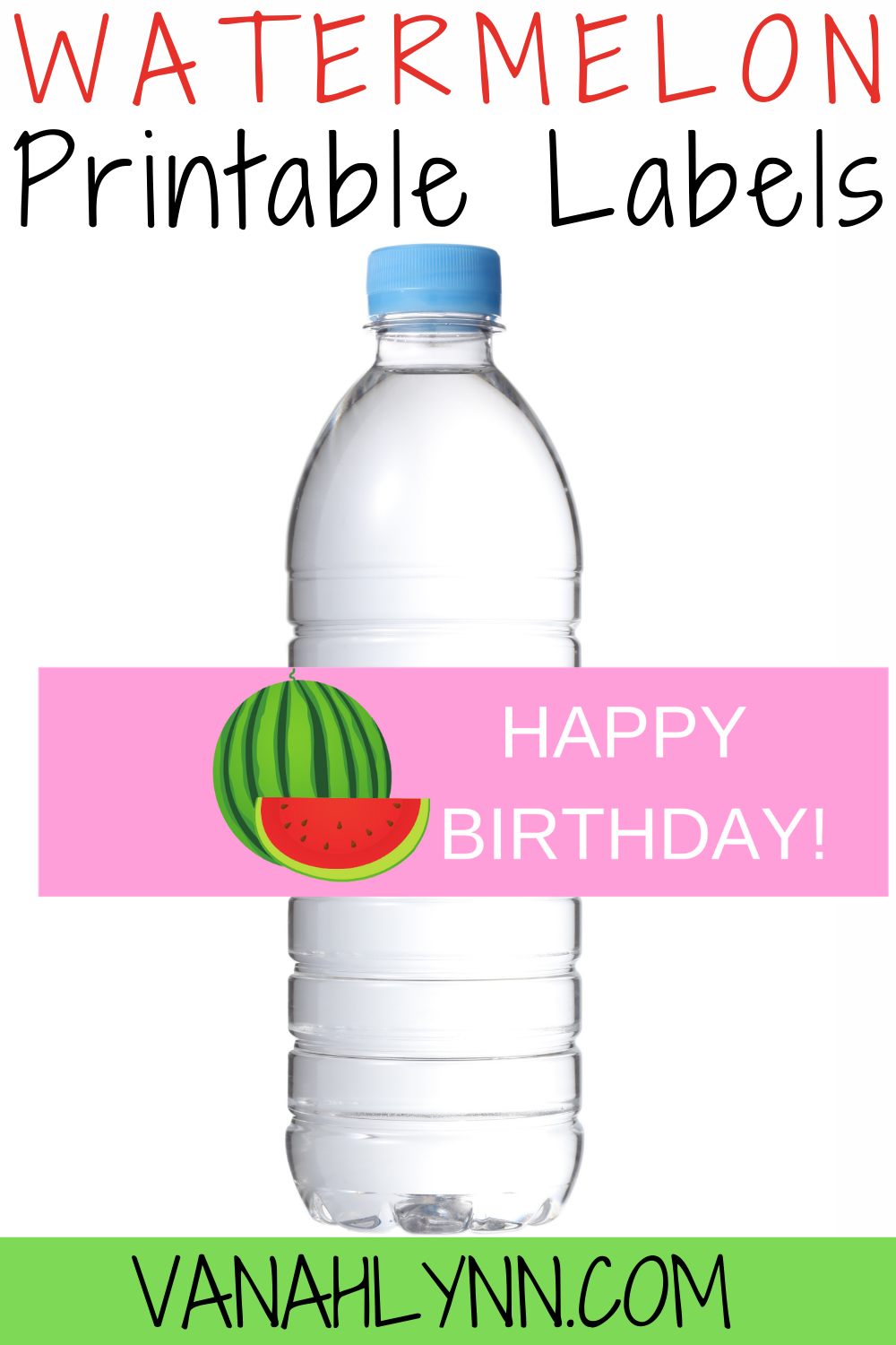 free printable watermelon water bottle for kids birthday party