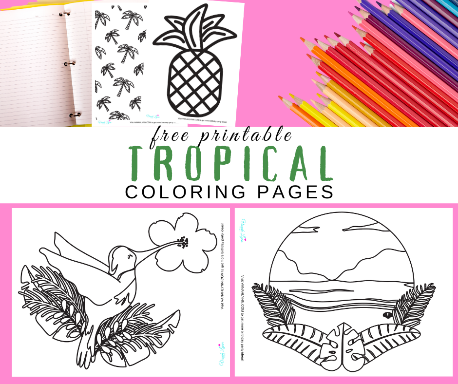 tropical coloring pages for a tropical birthday party