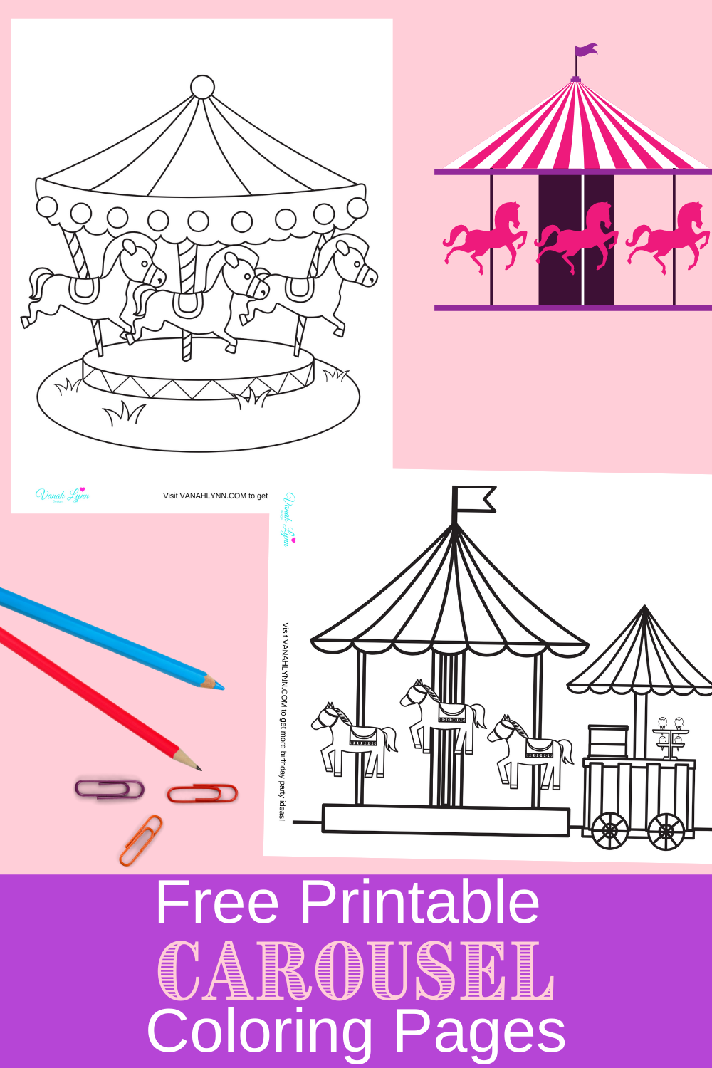 carousel themed coloring sheets for a toddler