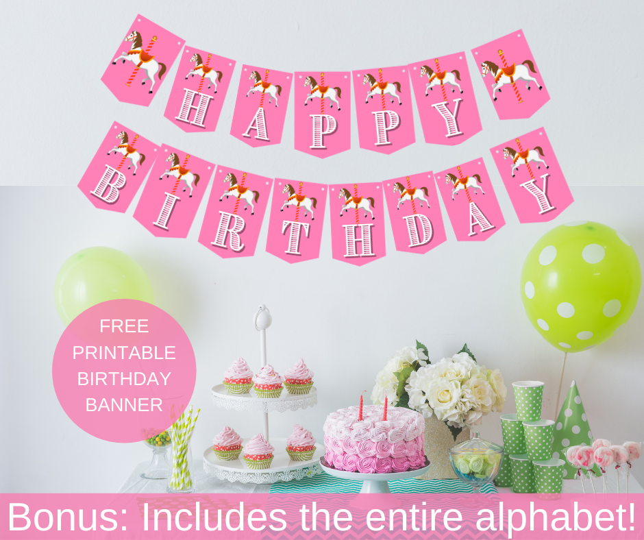 """Carousel themed banner, says """"happy birthday"""" with a carousel horse pictured"""