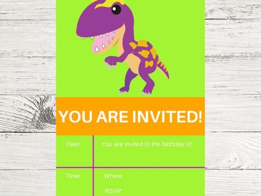 Dinosaur Invite | Children's Dinosaur Birthday Invitations | Digital Dinosaur Birthday Invitations