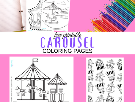 Carousel Coloring Pages | Free Printable Party Ideas | Carousel Themed Birthday Party Activities