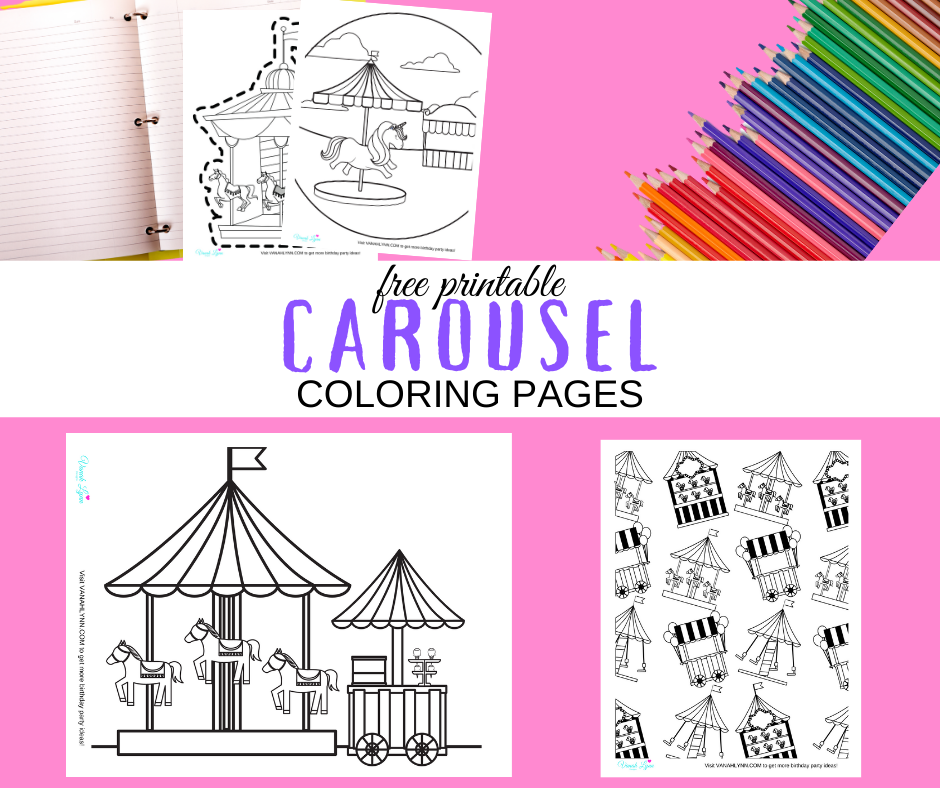 carousel themed coloring page for a carousel birthday party