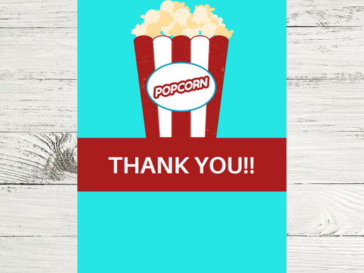 Carnival Thank You Card | Free Printable Popcorn Thank You Note | DIY Carnival Themed Party Ideas