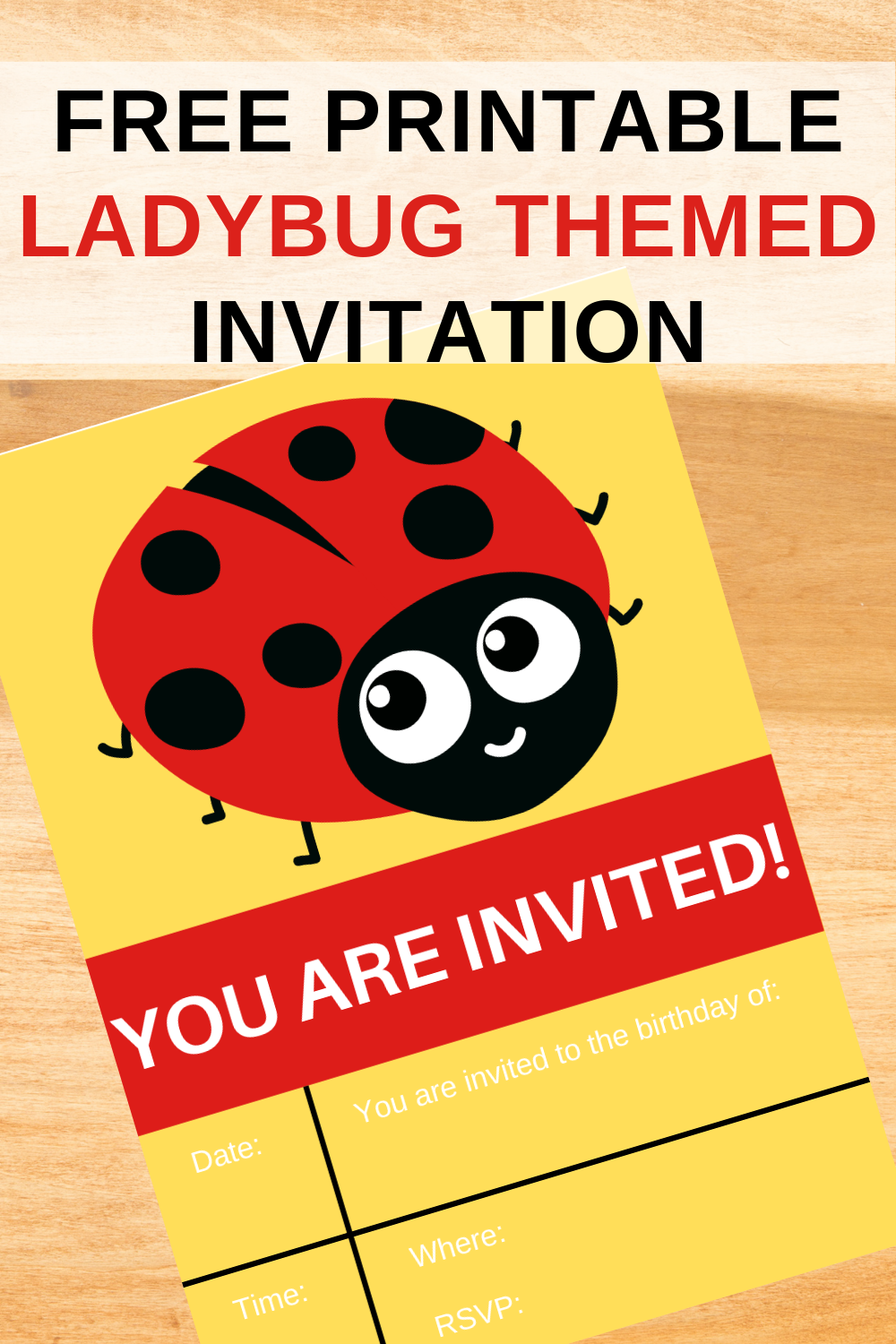 free printable ladybug invite for a little girls birthday party