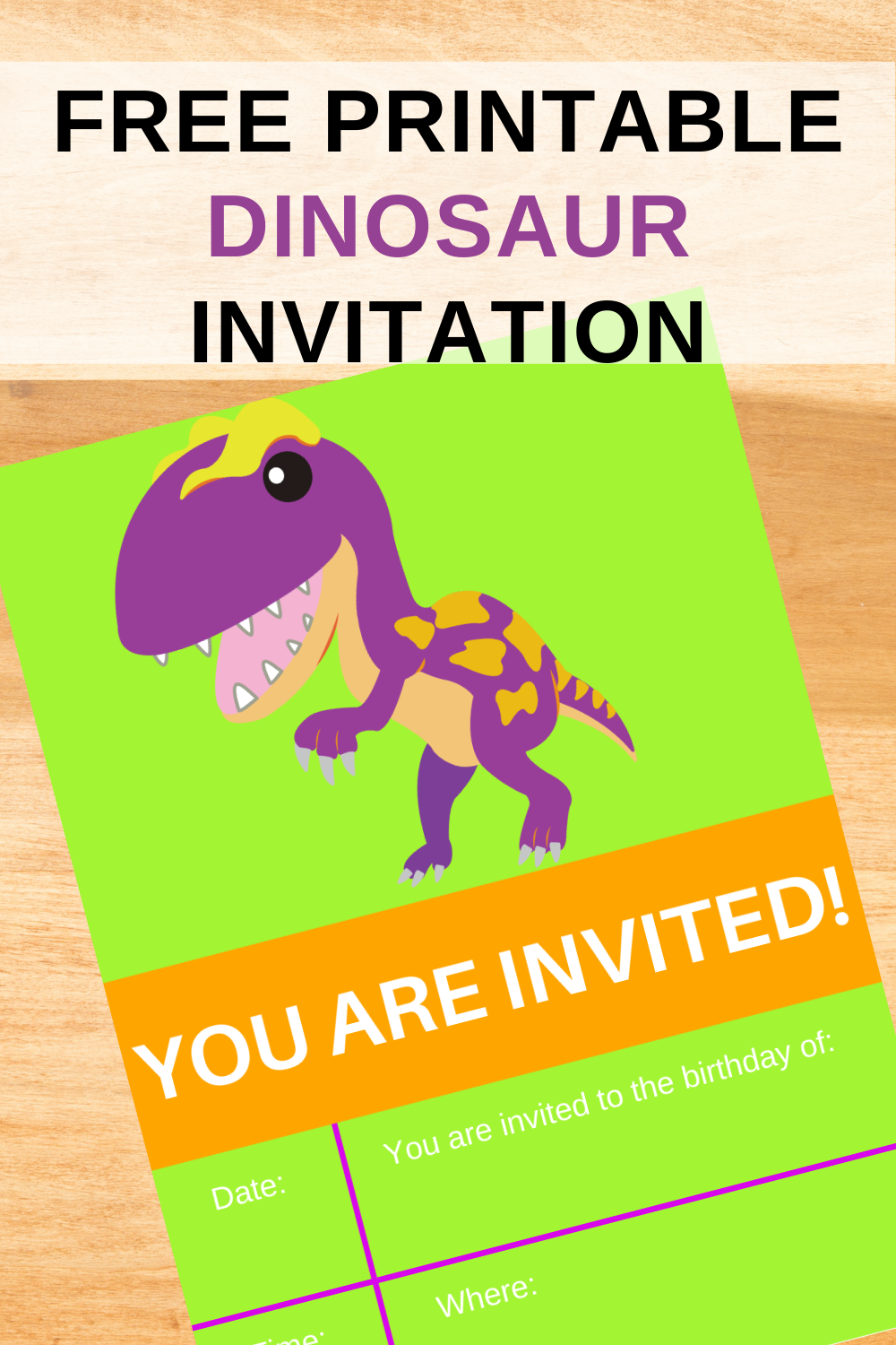 dino invite for a toddlers birthday party