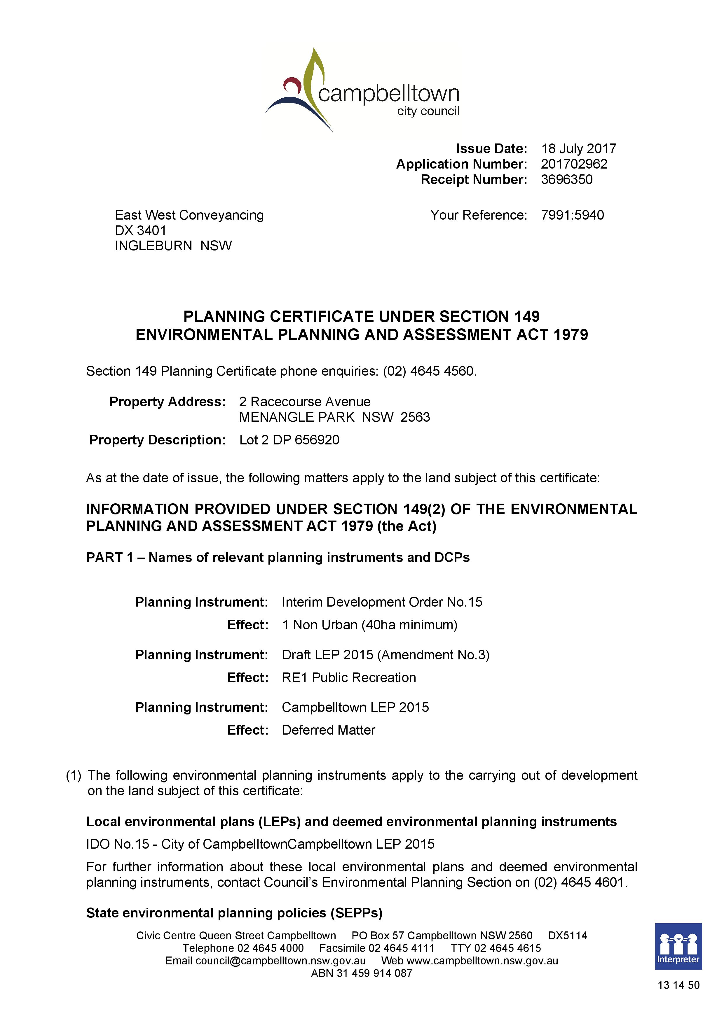 Planning Certificate