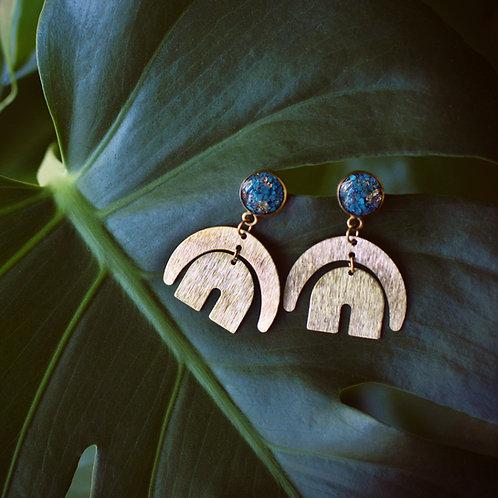 The Rani Earrings Brass Rainbow Post Dangle