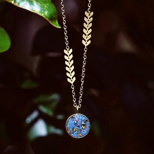 The Cali- Long Boho Style Open Bezel: Crushed Gems, Gold Leaf, Arrow Chain