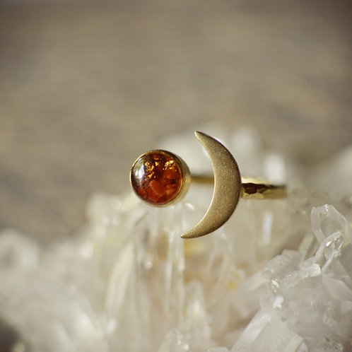The Celeste~ Adjustable Raw Brass Moon Ring with Resin Accent Gemstone