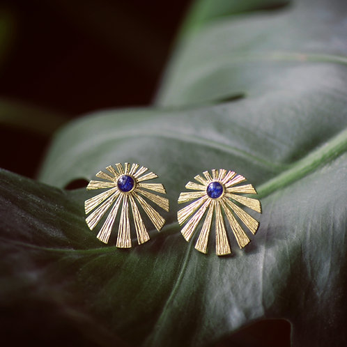 Round Brass Sun Earrings with Gem Accent