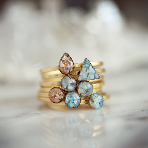 Australian Opal & Mexican Fire Opal Petite Stacking Rings