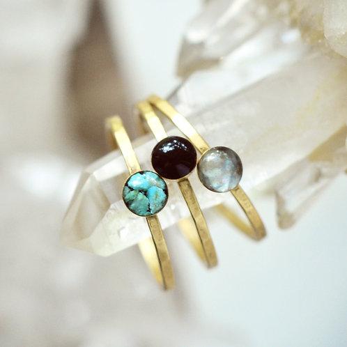 The Tiny Round Gemstone Stacking Ring