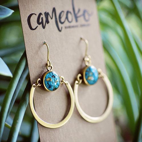 Ellie earrings- Crushed gemstone with raw brass hoop