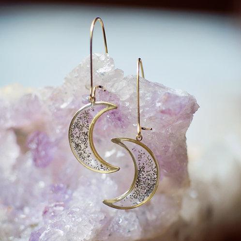 Scattered Gem Moon Earrings
