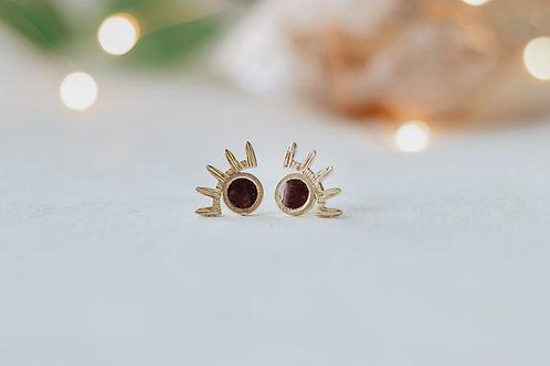 Evil Eye Post Earrings, Brass with steel backs