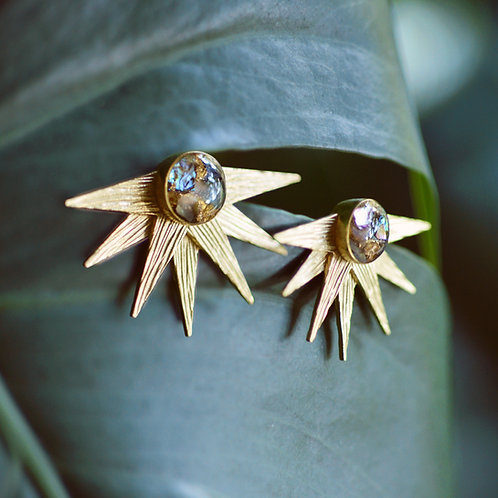 The Cosmos ~ Crushed Abalone Starburst Earrings