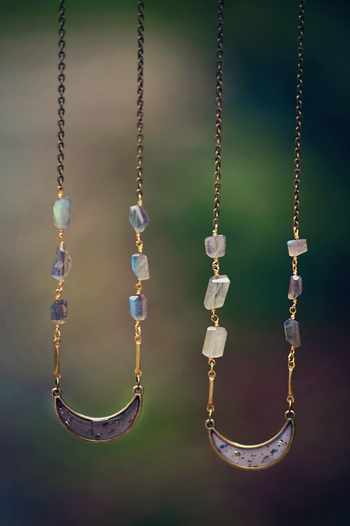 The Luna~ Labradorite Moon Necklace