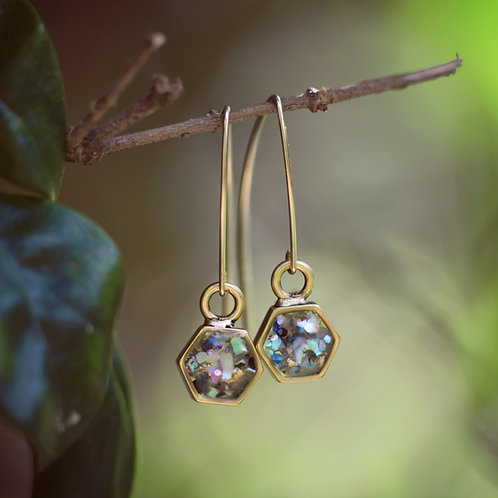 The Vega Earrings- Open Hex with 14kt Gold Filled Arc Threader