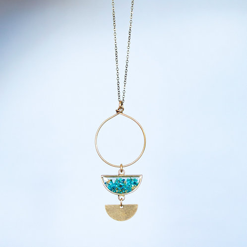 The Phases Pendant Necklace with crushed gem half moons
