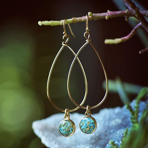 The Dehlia Drop Earrings ~ Teardrop Wire Hoops with crushed gemstones drops