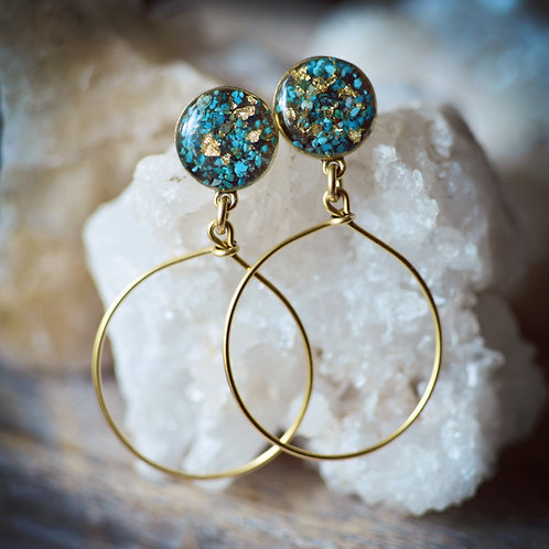 Sienna Earrings- Crushed Chrysocolla Post Hoop Earrings