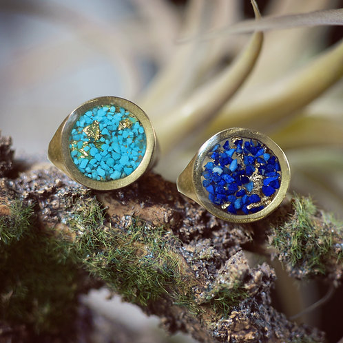 The Luxe~ Large Round Ring In Turquoise, Lapis or Abalone + Gold Leaf Flake