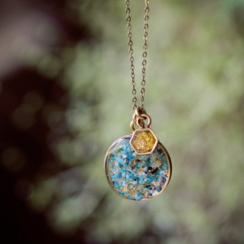 The Sweetest Duo Necklace~ Large Round Pendant and Hexagon Accent Turquoise Jasper