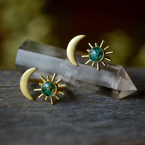 The Sun and Moon Ring ~ crushed gemstone brass adjustable ring