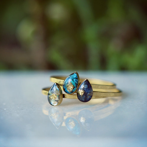 Tiny Teardrop Ring in Mother of Pearl, Chrysocolla or Sodalite