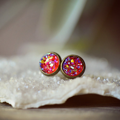 Resin Druzy Post Earrings