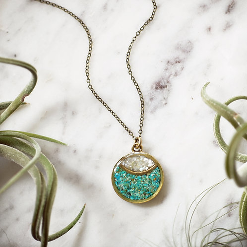 Marquise Moon~ Crushed Gem Necklace