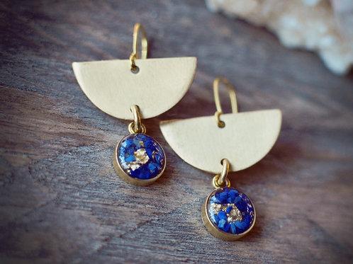 The Aura Earrings-Crushed Gemstone + Gold Leaf Flake