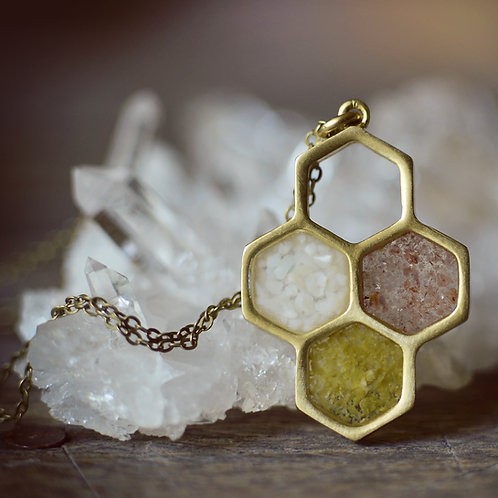 Honeycomb Trio Necklace ~ Green Opalite, Mother of Pearl, Lepidolite