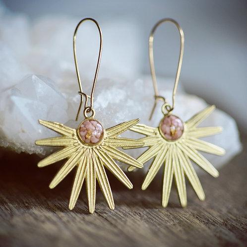 The Moon Flower earrings ~ dangle crushed gems
