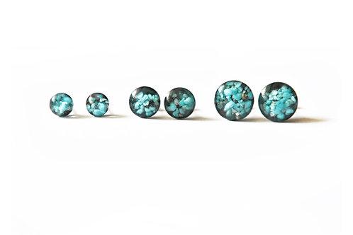 cameoko Turquoise Gemstones in Resin Post Earrings