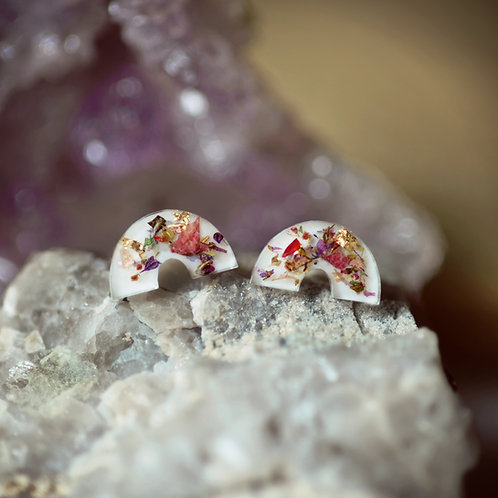 Rainbow Connection Earrings in Flower Confetti or Ethiopian Opalo
