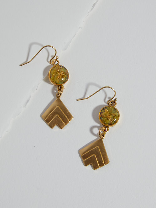 The Gia Earrings~ Crushed gemstone with brass arrow charm