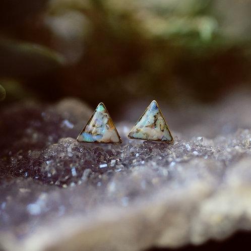 The Tiny Triangle Post Earrings in Australian Opal