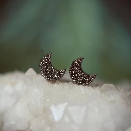 Sparkling Pyrite Moon Earrings