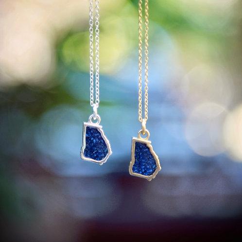 Georgia turned BLUE! Pendant Necklace with crushed Lapis stone