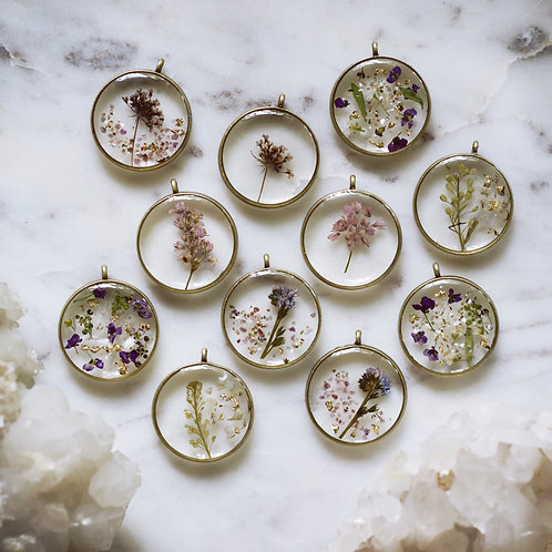 Plant Lovers ~Botanicals + Crystals Combo Pendants