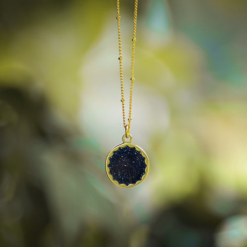 The Nova ~ Crushed Gemstone Starburst Necklace on Satellite Chain