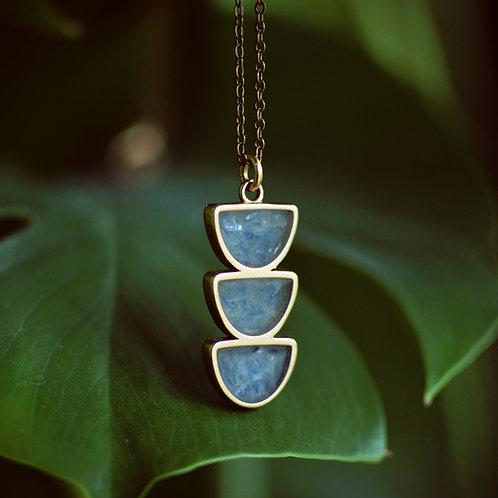 Moon Trio Necklace- Layering Crushed Gemstone