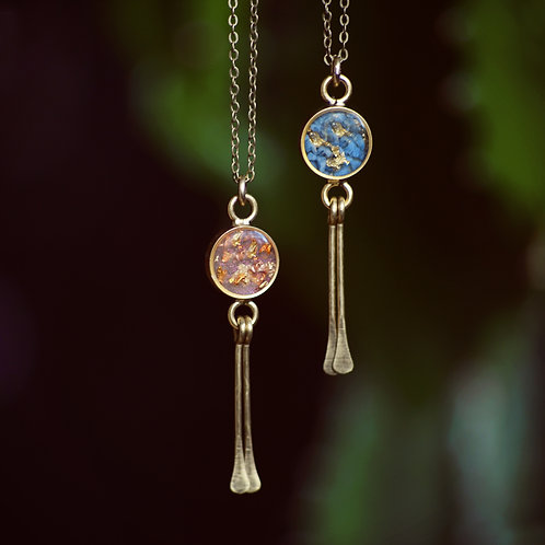 The Boho Necklace~  Round Dangle Brass w/ crushed Turquoise and Gold