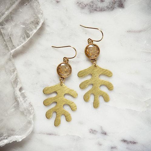 The Liv Earrings~ Crushed gemstone with brass textured leaf charm
