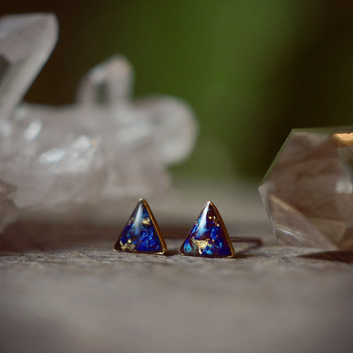 The Tiny Triangle Earrings crushed gem posts