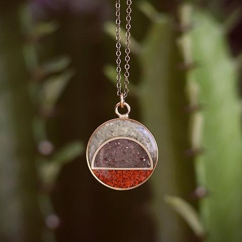 The Sunrise Pendant ~ crushed gemstone inlay